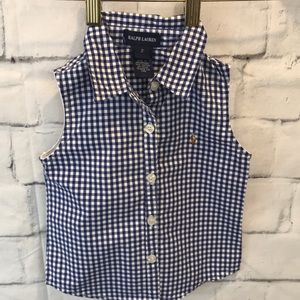 Ralph Lauren Girls  Sz 2 Gingham Button Down